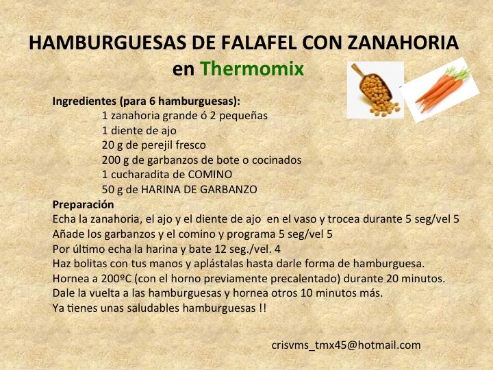 HAMBURGUESAS DE FALAFEL Y ZANAHORIA CON Thermomix®