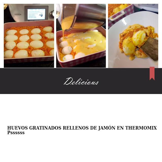 HUEVOS GRATINADOS RELLENOS DE JAMÓN EN Thermomix®