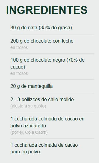 Trufas picantes de chocolate.
