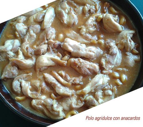 Pollo agridulce con anacardos