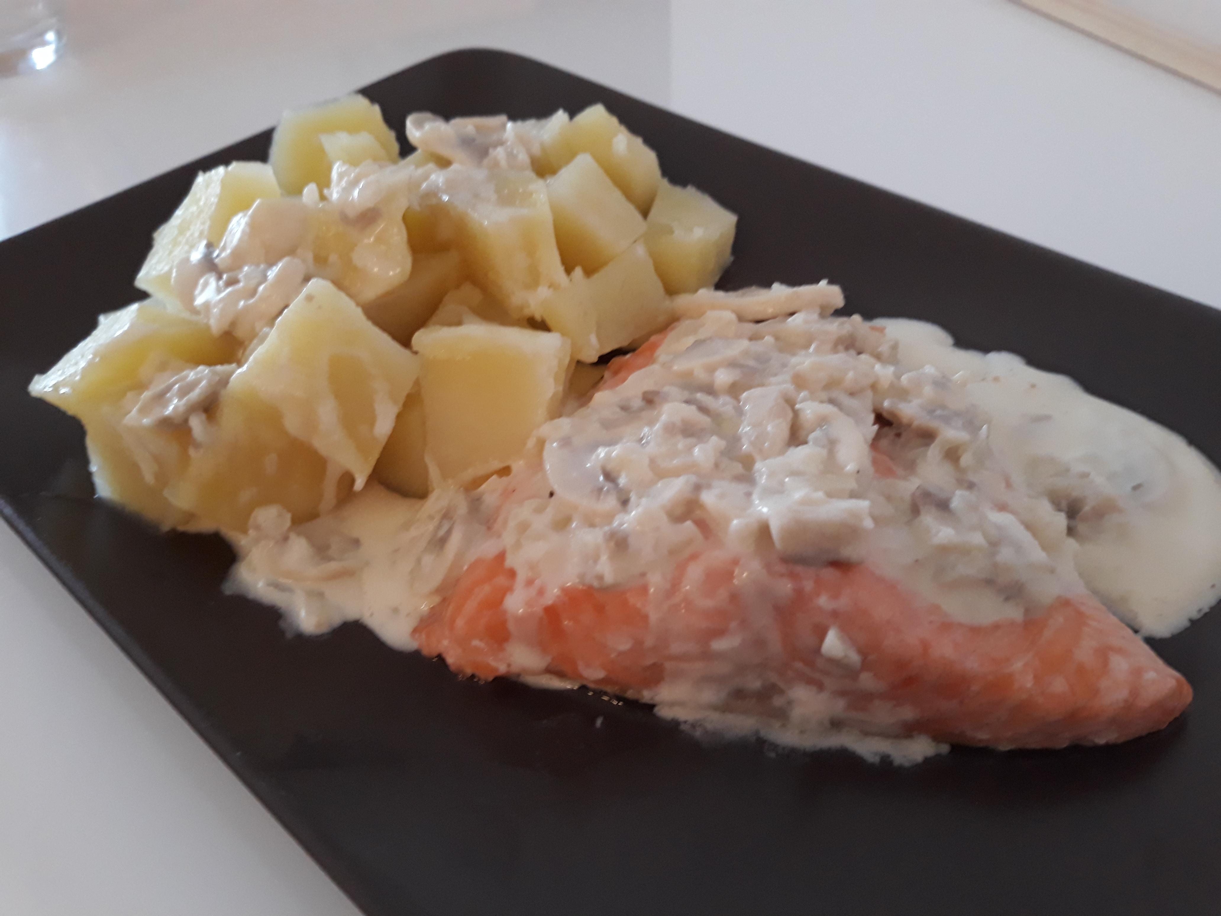 Salm n con salsa de champi ones pescados y mariscos - Salmon con champinones ...