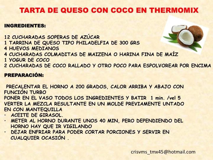 TARTA DE QUESO CON COCO Thermomix®