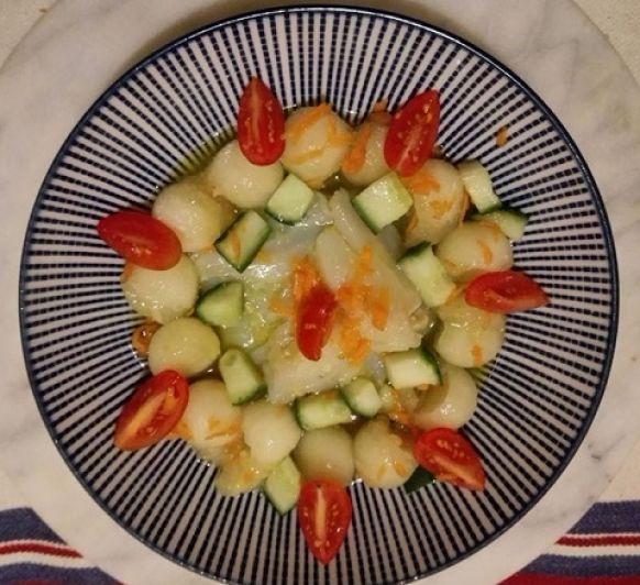 Ensalada de melon y bacalao