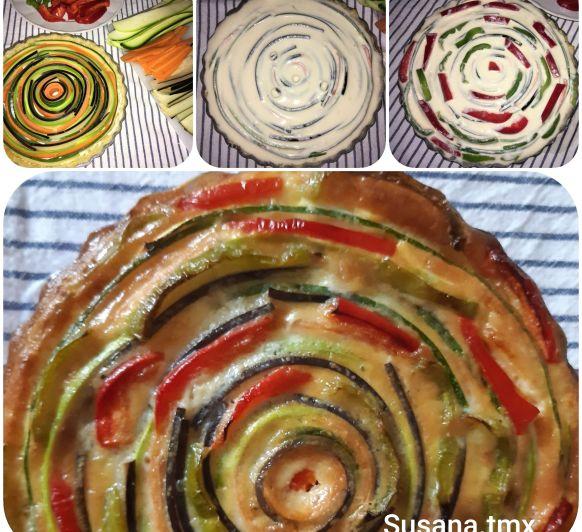 Quiché de verduras ... en espiral