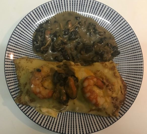 Crepes de lenguado con gambas en Thermomix®