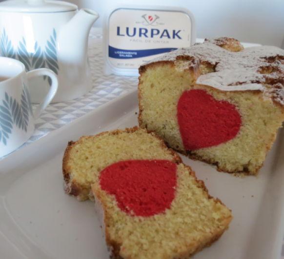 Cake de lima con corazon sorpresa, SIN AZÚCAR (Paso a paso)