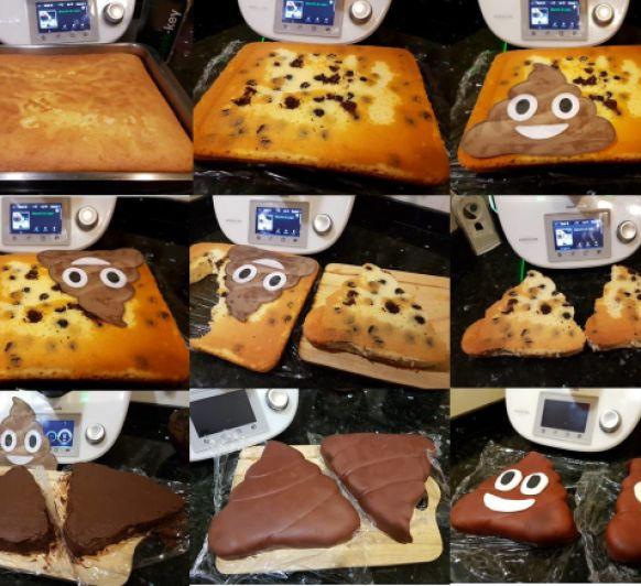 Emoji pooh! Pastel cumpleaños: bizcocho y cobertura