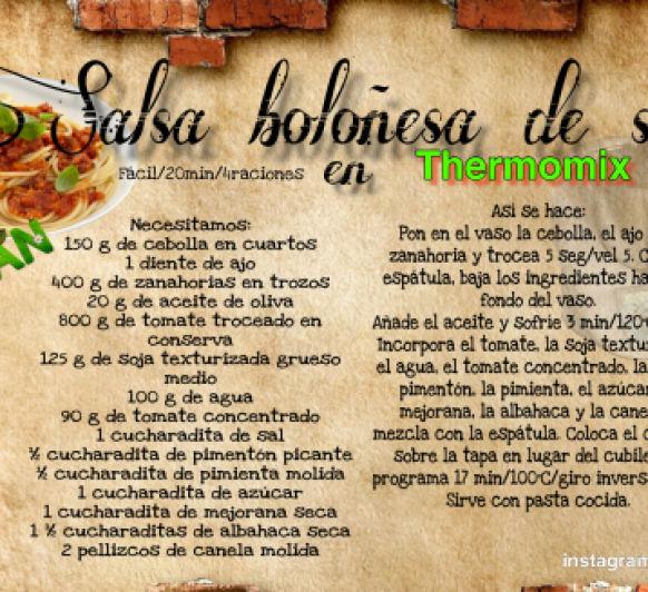 SALSA BOLOÑESA DE SOJA EN Thermomix®