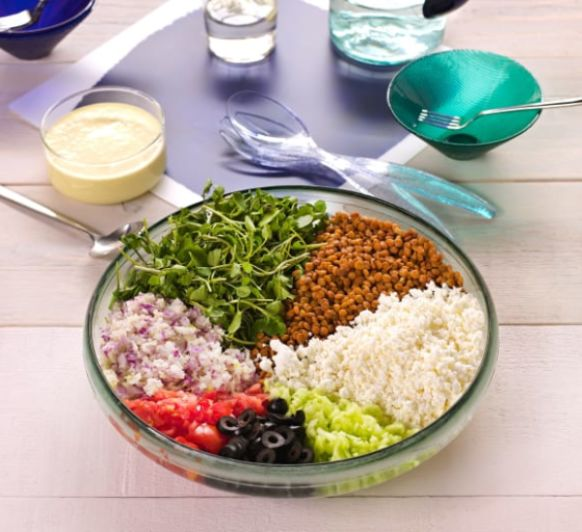 Ensalada de lentejas al estilo griego, con Thermomix®
