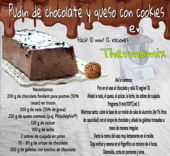 PUDIN DE CHOCOLATE Y QUESO C0N COOKIES EN Thermomix®