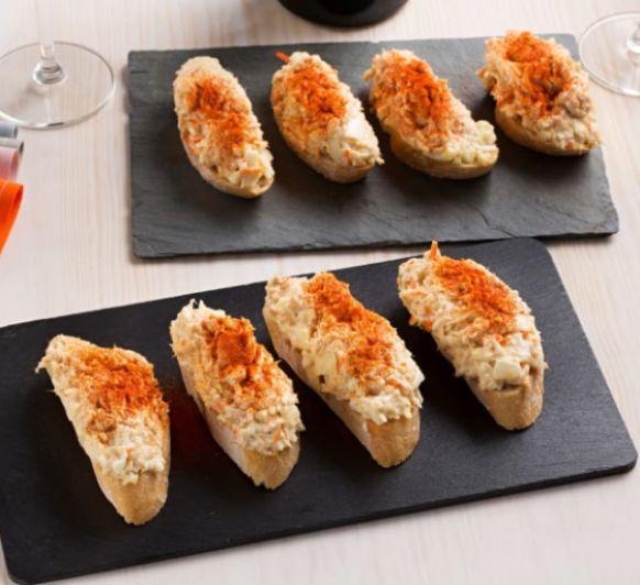 Tosta de cangrejo y atún, pincho donostiarra o txaka, con Thermomix®