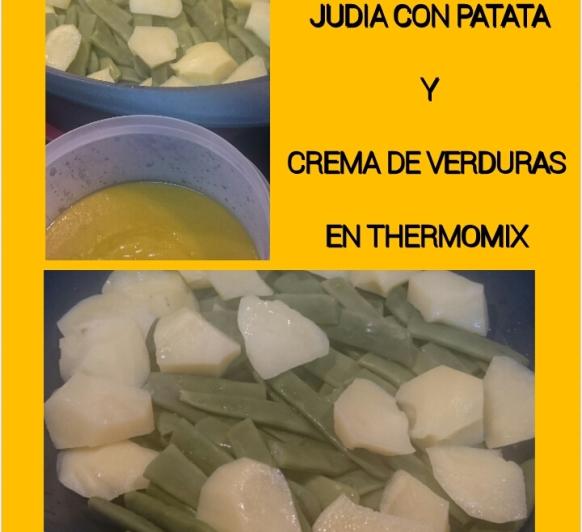 Puré de verduras y judías con patata al vapor