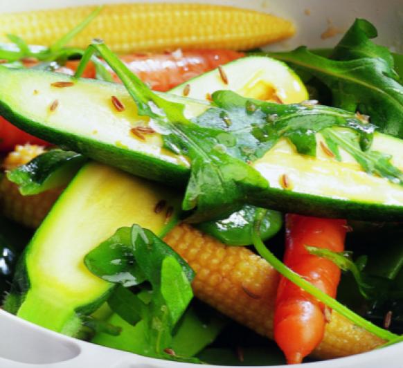 Verduras al Vapor con Rúcula.