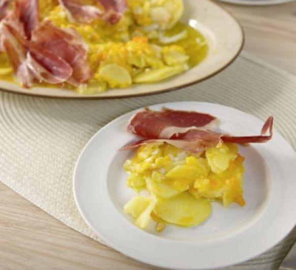 Huevos rotos con patatas y jamón, con Thermomix®