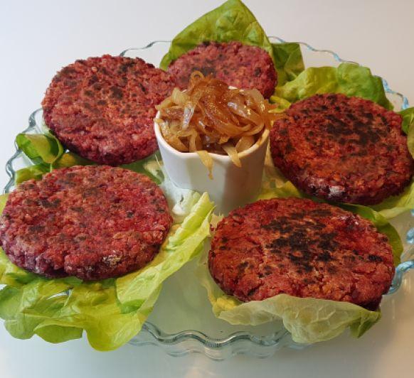 Hamburguesa vegetariana de remolacha, arroz y avena. Con Thermomix®
