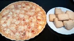 Quiche de jamón, tomate y queso de cabra con Thermomix® y ... ¡galletas de aprovechamiento!